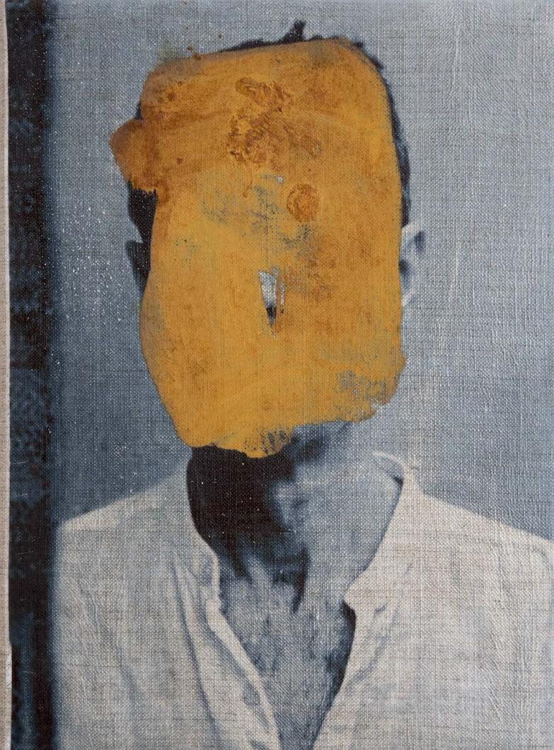 42 John Keane, Twelve Selves (Selve Forty Two), Oil and Image Transfer on Linen, 2017, 40 x 30cm