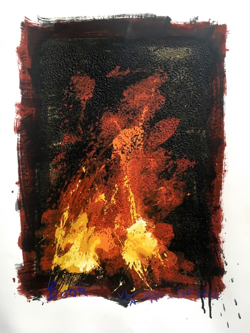 Book  1994 (The Satanic Verses), screenprint with collage and sand