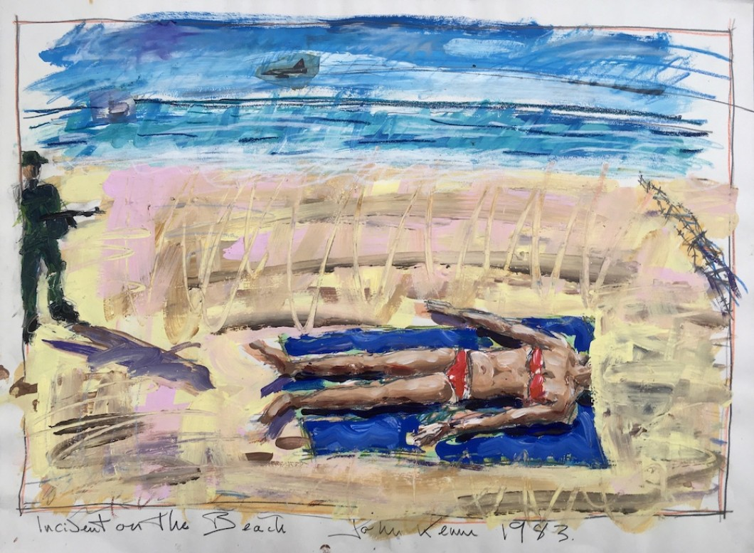 Incident on the Beach 1983 mixed media/collage 56x75cm