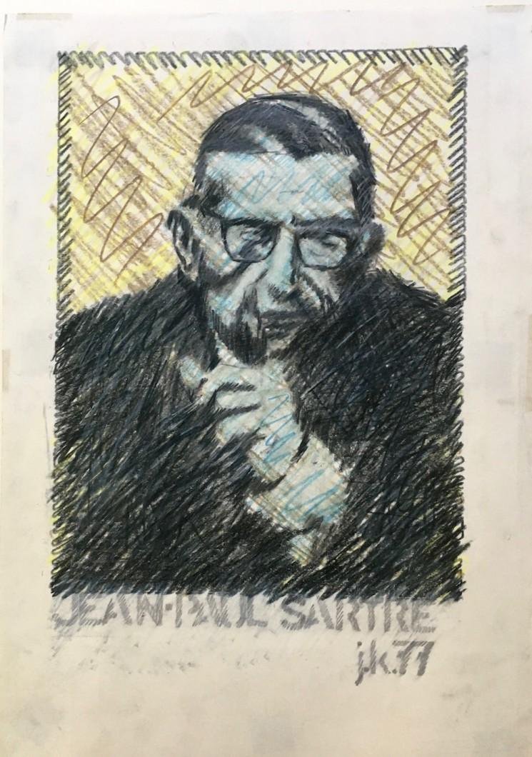 Jean-Paul Sartre, 1977 crayon/paper