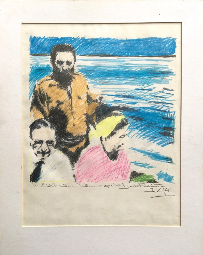 Jean-Paul Sartre and Simone de Beauvoir Speedboating with Fidel Castro 1978 crayon/pencil/paper