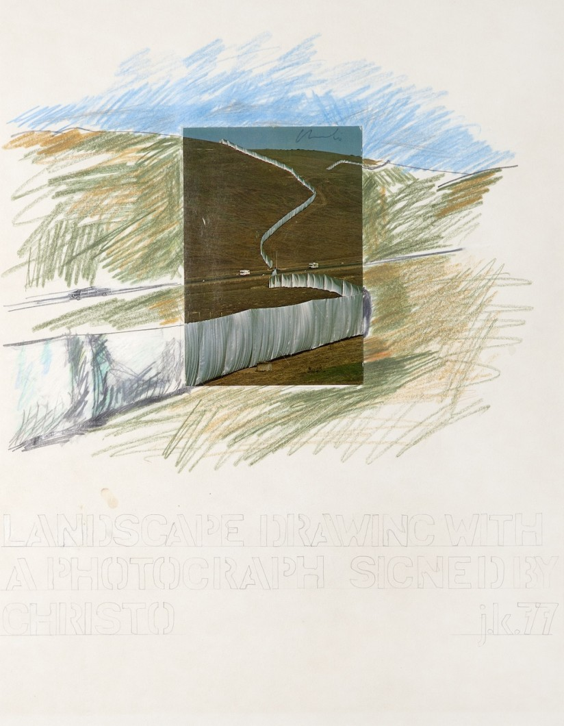 John Keane, Landscape Drawing with a Photograph Signed by Christo, 1977 crayon/poatcard/paper 56x75cm