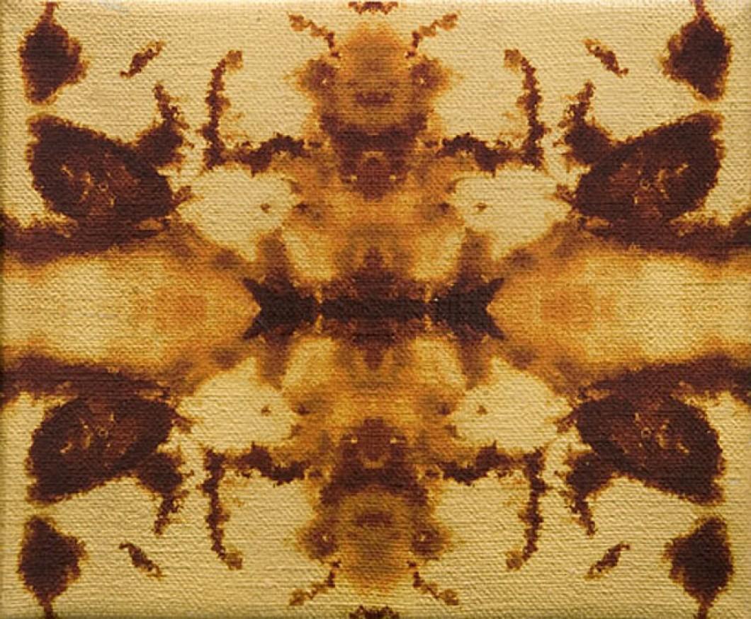 I.D.(2), 2008, inkjet transfer & gold leaf on jute, 25x35cm by John Keane